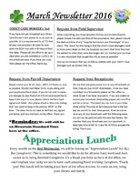 Infinity March 2016 Newsletter